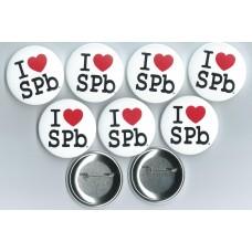 """Значки """"I Love SPb"""" 100 шт."""
